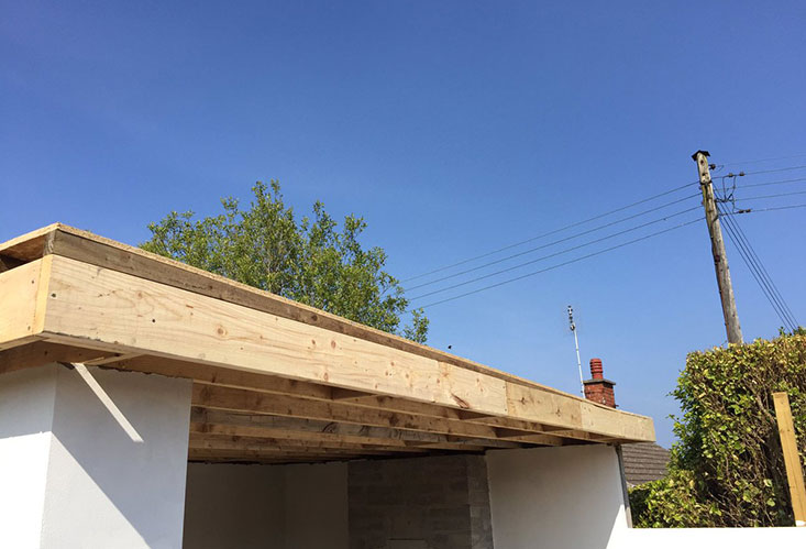 Flat Roof New Beams Installation